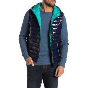 Noize Navy Hooded Puffer Vest Jacket New Pockets